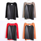 New Tops T-shirt Shirt Faux Leather Knit Splice Sweater Knitwear 4 Colors 1033 Z