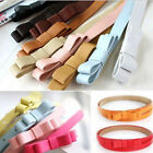 New Candy Color Woman Girls Bowknot PU Leather Thin Skinny Belt Waistband
