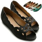 ollio Womens Cut-out Flats Ballet Loafers Low Heels Open-Toe Multi Colored Shoes
