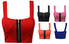 WOMENS LADIES FRONT ZIP PADDED BRALET BOOBTUBE STRAP BRA CROP TOP UK 8-14