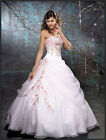 New Stock Strapless White/Pink Ball Gown/Wedding Dress Size 6 8 10 12 14 16