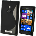 S Line TPU Gel Skin Case Cover for Nokia Lumia 925 Windows + Screen Protector