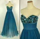 JOVANI 7229 TEAL $640 Evening Wedding Formal Gown Pageant NWT-Avail Sz 4, 6, 10