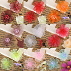 100pcs Mixed Color Satin Ribbon Flower With Beads Appliques DIY AF7570 31x30MM