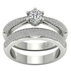 Real 1.01 Ct Antique Diamond Jewelry Round Cut 14Kt White Gold Bridal Ring Set
