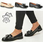 WOMENS LADIES OFFICE WORK LEATHER TASSEL FLAT VINTAGE LOAFERS DECK SHOES SIZE