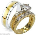 Yellow Gold Overlay His & Hers 3 Piece Engagement Wedding Ring Set