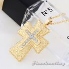 European King Crown Cross Pendent Crystal Golden Tone Charm Necklace Long Chain