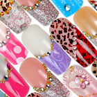 12 Vintage long size colorful shiny Pre-Designed False Nail Art Tips Deco set