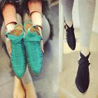 US5-9 Strappy Leather like Casual Kitten Shoes fashion womens pointed toe shoes