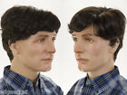 Short Natural Looking Left Side Skin Part Wavy Straight Brunette Grey Men Wig