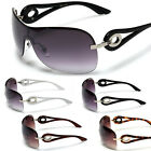 New DG Womens Rimless Silver Gold Shield Designer Sunglasses Black Brown White