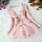 Girl Princess 2 Piece Cardigan Top Dress Baby Pink Tutu Skirt Outfit Sets SZ 3-6