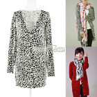 S0BZ Fashion Women Leopard Print Cardigan Long Sleeve Knitted Knitting Sweater