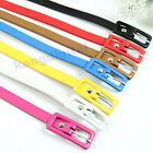 Cute Fashion Women Candy Color Faux Leather Belt Thin Skinny Waistband