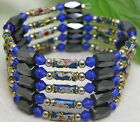 "SALE long 29"" Blue Cloisonne Hematite Magnetic Beads necklace /Bracelet-nec5157"