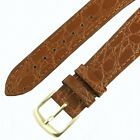 APOLLO Brown Crocodile Grain Leather Watch Strap + 2 Spring Pins 97