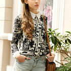 New Womens Casual Retro Printed Lapel Long Sleeve Chiffon Shirt Pullover Blouse