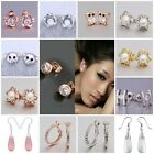 FREE P&P Wholesale 18K Rose Gold Jewellery Xmas gift Ladies 925Silver Earrings