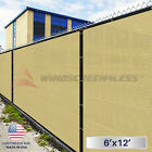 6'x12' Beige/Tan Fence Windscreen Privacy Screen Mesh Fabric Cover Shade Cloth