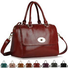 Ladies Womens Designer Leather Style Satchel Tote Saddle Shoulder Grab Hand Bag