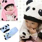 #QZO Toddler Baby Girl Boy Cap Cute Panda Kids Hat + Scarf Set Keep Warm