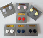 16mm 100% plastic button style stud earrings ReTro, 7 colour options