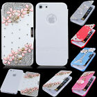 Stylish Bling Flower Cross Flip Leather Pouch Hard Case Cover For iPhone 5S 5G