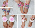 Barefoot Baby Sandals Print Shabby Chiffon Flower Shoes Newborn Handmade Photo