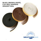 Weatherbar Draft Draught Excluding Rubber Seal, P Shape, Self Adhesive, 5M Roll