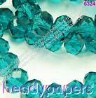 Cut Glass Beads Abacus Suncatcher Faceted Turquoise Teal Blue AB 10 mm 8 mm 6 mm
