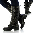 Ladies Womens Knee High Leather Style Flat Low Heel Biker Riding Buckle Boots