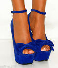 PLATFORMS BRIGHT BLUE BOW  BOWS SUEDE PEEP TOES WEDGES HIGH HEELS SHOES SIZE 3-8
