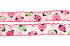 "25mm 1"" Pink White Crafts Ladybird Trimmed Edge Saddle Grosgrain Ribbon 3m/6m"