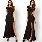 Women Splicing Lace Open Side Split Long Maxi Dress Slim Party Evening Dress New
