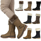 NEW WOMENS QUILTED LADIES BUCKLE WINTER WARM GRIP SOLE CALF BOOTS SHOES SIZE 3-8