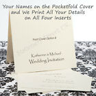 25 Pocketfold Invitations inc. Names & We Print Your Details Inside Wedding etc.