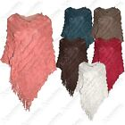 NEW WOMENS LADIES SCALLOP FRINGE KNIT PONCHO CAPE LONG JUMPERS KNITTED SHRUG TOP