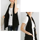 Korean style Women's Cotton Halter Wrap Sleeveless Vest Pockets Cardigan solids