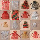 6pc SMALL ORGANZA GIFT FAVOUR BAGS POUCH CHRISTMAS RED SNOWFLAKE SILVER XMAS