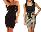 Embroidered black lace bodycon tank dress party going out size 6 8 10 12 14