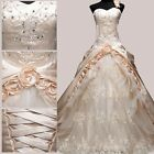 New Champagne Wedding Dresses Prom Bridal Bride Gowns Stock Size 6 8 10 12 14 16