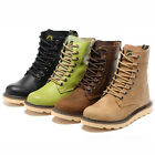 US7-10 Fashion real Leather Mid-Calf Lace Up Martin Boots mens round toe shoes