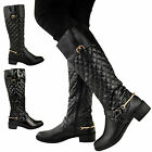 NEW LADIES WOMENS RIDING KNEE QUILTED BOOTS LOW HEEL FLAT ZIP GOLD BUCKLE SIZE