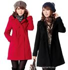 Women's Overcoat Double Breasted Trench Hooded Lapel Wool Warm Long Coat Jacket
