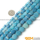Natural Round Frost Blue Agate Jewelry Making Loose gemstone beads strand 15""