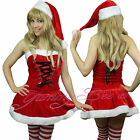 Mrs Santa Claus Fancy Dress Costume Ladies Christmas Outfit 8-12 FREE Stockings