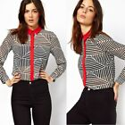 New Turndown Collar Striped Womens Concealed Button Down Vogue Shirt Blouse Tops