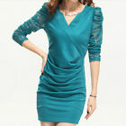 Elegant Women's Sexy V Neck Floral Lace Long Sleeve Slim Fit Pleated Mini Dress