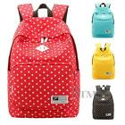 Lady Girl Backpack Bag Canvas Dots Student School Books Campus Travel